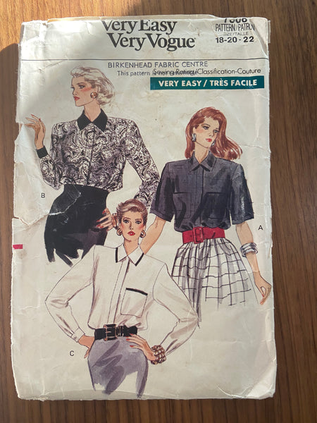 Vogue 7308 very easy very vogue vintage 1980s blouse sewing pattern