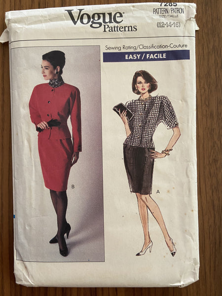 Vogue 7285 Vintage 1980s skirt and jacket sewing pattern