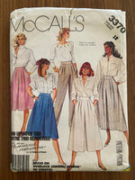 McCall's 3370 Vintage 1980s Palmer and Pletsch skirt and culottes sewing pattern