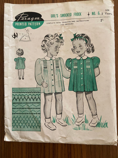 Paragon No. 6 vintage 1940's sewing pattern girl's smocked frock