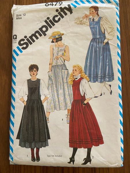 Simplicity 6479 vintage 1980s jumper or pinafore sewing pattern