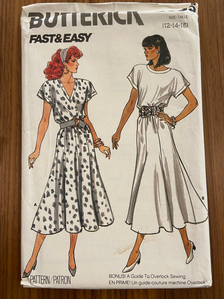 Butterick 5585 Vintage 1980s fast and easy dress pattern