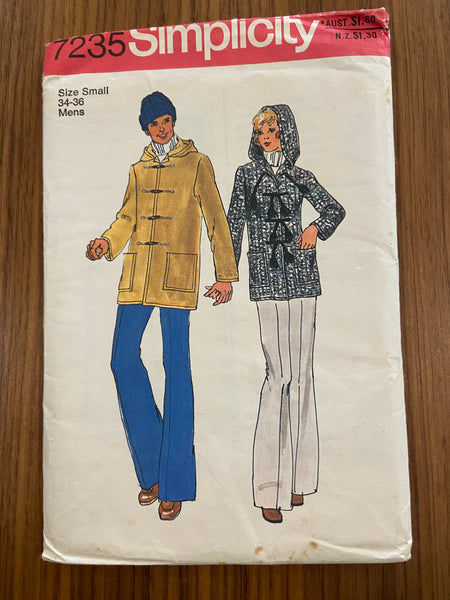 Simplicity 7235 vintage 1970s hooded coat pattern
