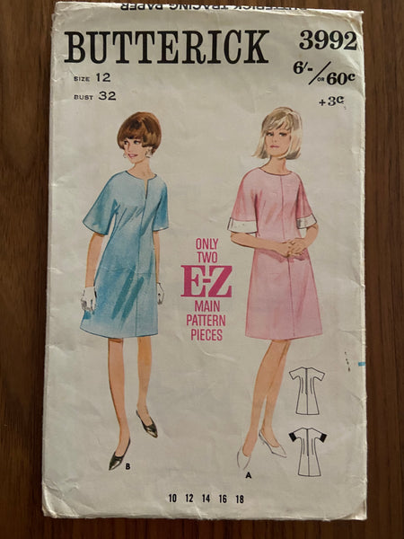 Butterick 3992 vintage 1960s E-Z dress sewing pattern