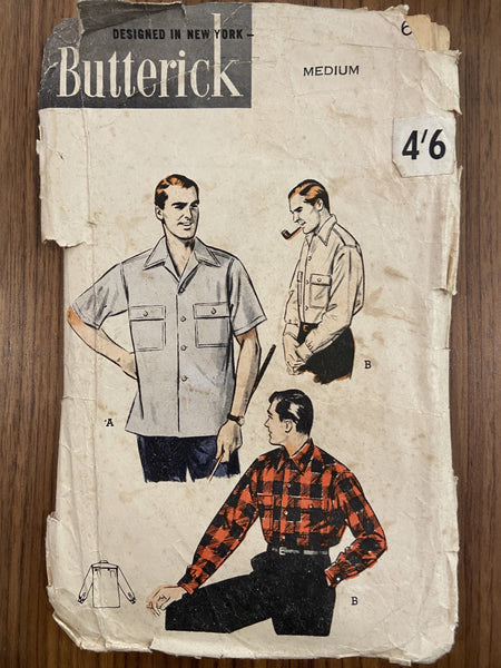 Butterick 6318 vintage 1950s men's shirt pattern