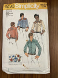 Simplicity 6693 vintage 1970s men's Western shirt pattern with embroidery transfers