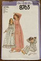Simplicity 8763 vintage 1970s girls nightgown pajamas and robe sewing pattern