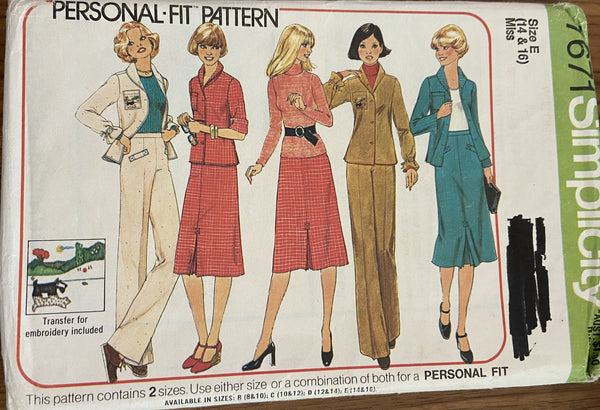 Simplicity 7671 vintage 1970s jacket skirt and pants pattern