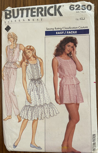Butterick 6250 vintage 1980s Eileen West nightgown, pajama pattern