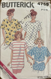 Butterick 4759 vintage 1980s top sewing pattern