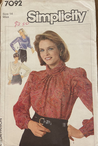 Simplicity 7092 vintage 1980s blouse sewing pattern