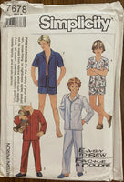 Simplicity 7678 vintage 1980s boy's pajama sewing pattern