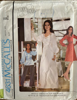 McCall's 4631 vintage marlo's corner 1970s dress, top and pants pattern