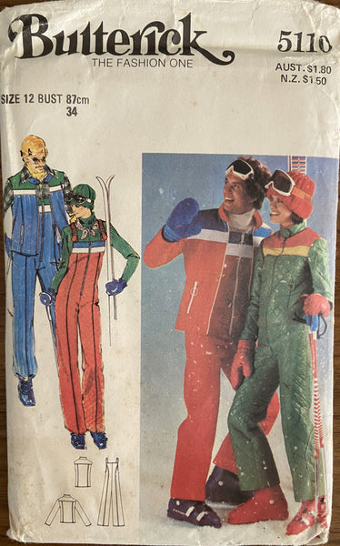 Butterick 5110 vintage 1970s jacket, sleeveless jacket and jumpsuit pattern