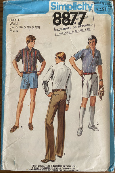 Simplicity 8877 vintage 1970s men's pants in three lengths pattern