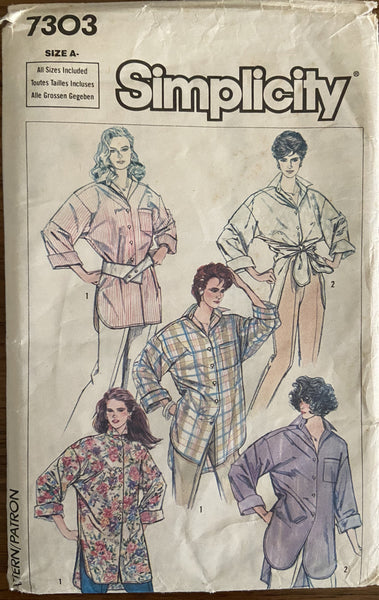 Simplicity 7303 vintage 1980s easy to sew big shirt sewing pattern