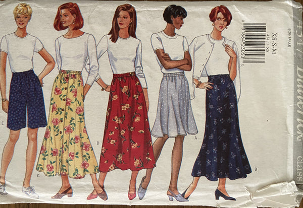 Butterick 4347 vintage 1990s skirts and shorts sewing pattern