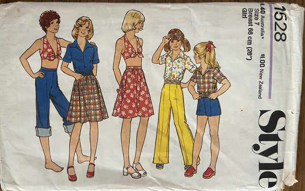 Style 1528 vintage 1970s child's top, halter top, skirt, trousers and shorts pattern