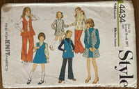 Style 4434 vintage 1970s child's pinafore dress or tunic, dress or blouse and trousers pattern