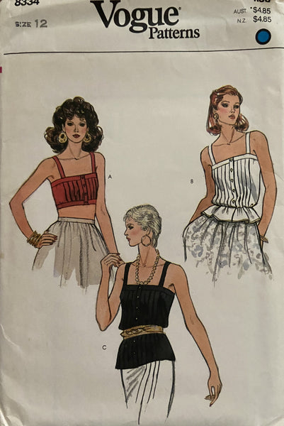 Vogue 8334 late 70s early 80s camisole top sewing pattern