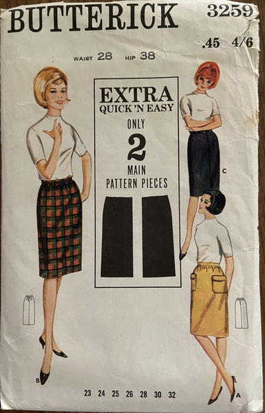 Butterick 3259 vintage 1960s skirt sewing pattern