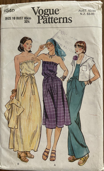 Vogue 9540 vintage 1970s jumpsuit dress and jacket pattern