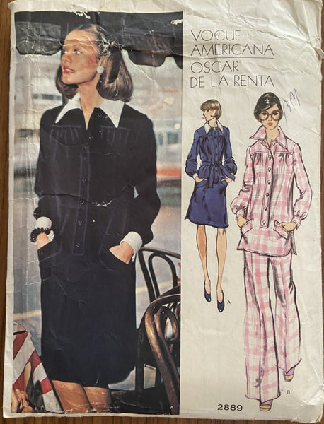 Vogue 2889 vintage 1970s Vogue Americana Oscar de la Renta dress tunic and pants pattern