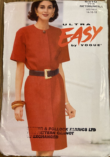 Vogue 8310 vintage ultra easy 1980s dress pattern