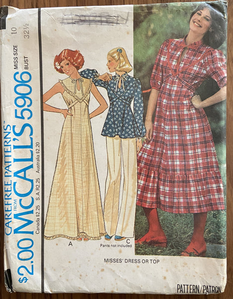 McCall's 5906 vintage 1970s dress and top sewing pattern