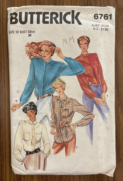 Butterick 6761 vintage 1980s blouse sewing pattern