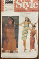 Style 3366 vintage 1980s dress pattern for stretch fabrics