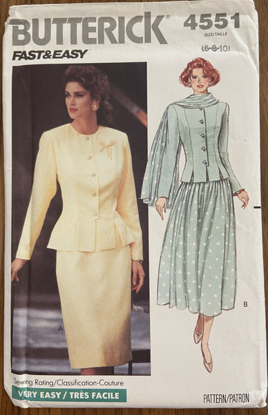 Butterick 4551 vintage 1990s top, skirt and scarf sewing pattern