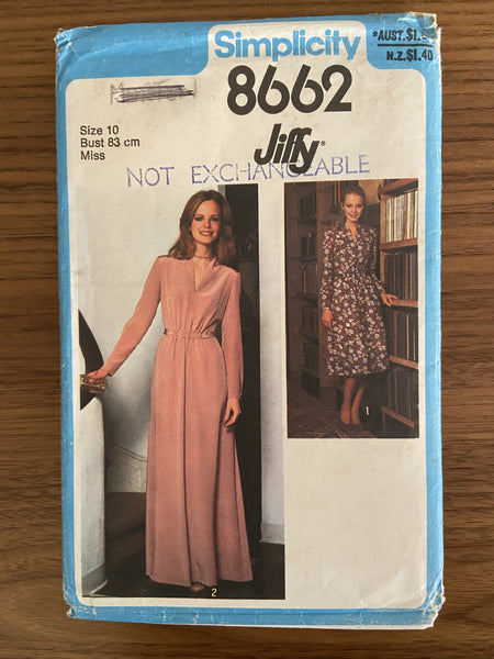 Simplicity 8662 vintage 1970s  dress pattern size 10