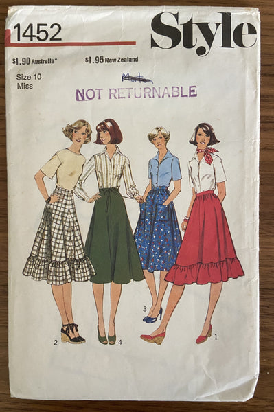 Style 1452 vintage 1970s skirt pattern
