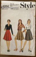 Style 4914 vintage 1970s skirt and blouse pattern