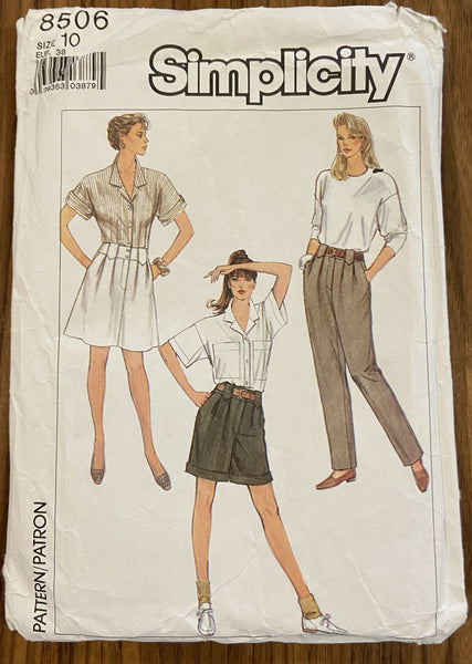 Simplicity 8506 vintage 1980s pants, shorts and skirt pattern