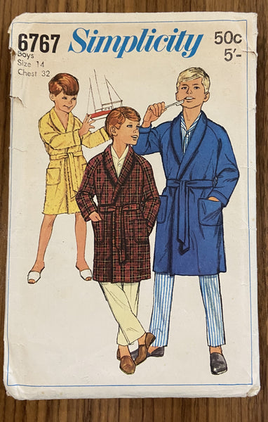 Simplicity 6767 vintage 1960s boy's robe sewing pattern