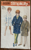 Simplicity 8326 vintage 1960s boy's robe sewing pattern