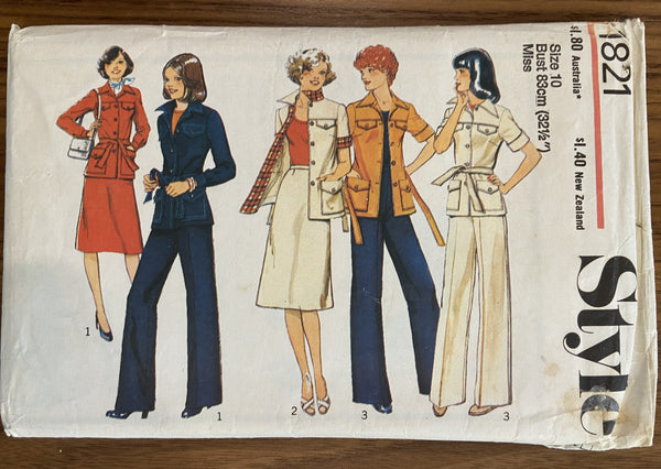 Style 1821 vintage 1970s unlined jacket, skirt and trousers pattern