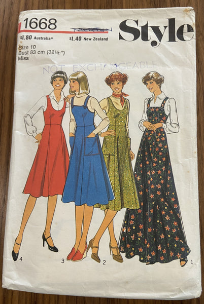 Style 1668 vintage 1970s pinafore jumper pattern