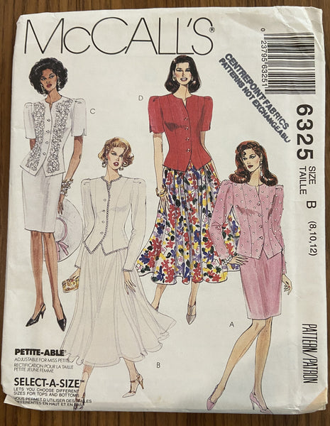 McCall's 6325 vintage 1990s unlined jacket and skirts sewing pattern