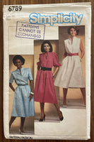 Simplicity 6789 vintage 1980s dress sewing pattern