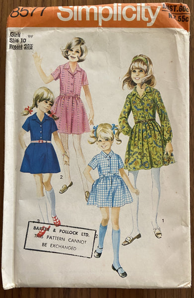 Simplicity 8577 4434 vintage 1970s child's dress pattern