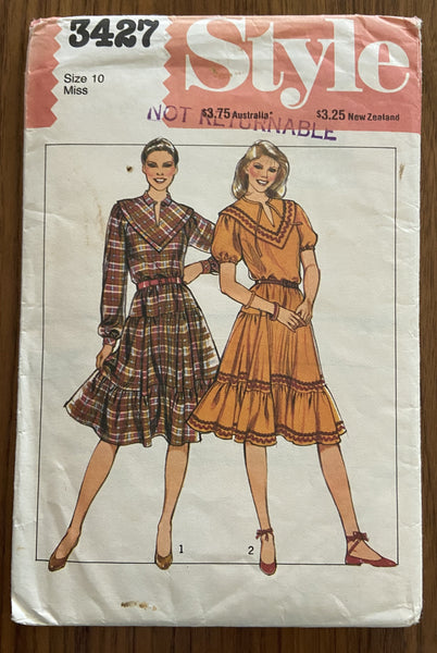 Style 3427 vintage 1980s dress sewing pattern
