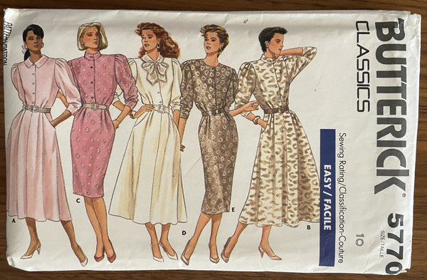Butterick 5770 vintage 1980s dress sewing pattern