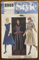Style 3965 vintage 1980s dress and jumper or pinafore sewing pattern
