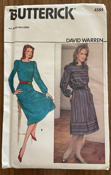 Butterick 4584 vintage late 1970s early 1980s David Warren dress pattern