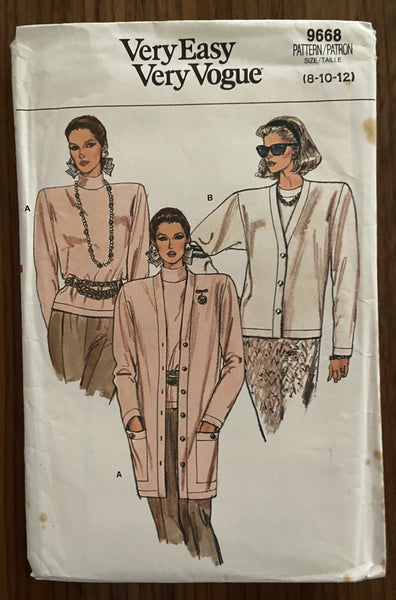 Very Easy Very Vogue 9668 vintage 1980s cardigans and top sewing pattern