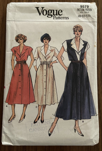 Vogue 9579 vintage 1980s dress sewing pattern