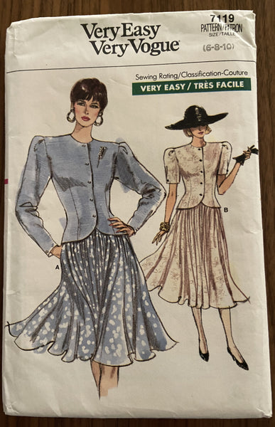 Vogue 7119 vintage 1980s top and skirt sewing pattern